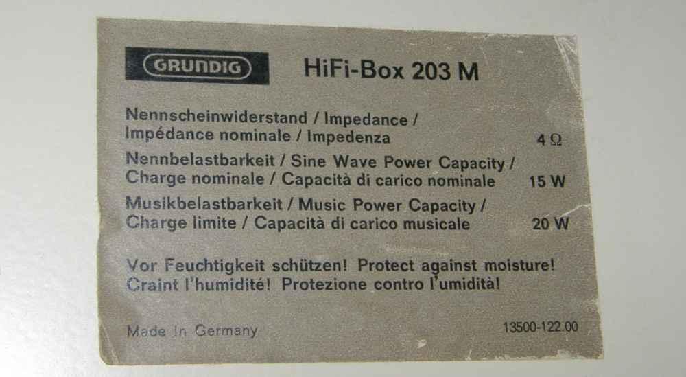 Grundig Box 203M - Potenza